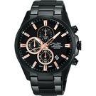 ALBA 雅柏 ACTIVE 活力運動型男計時手錶-鍍黑/42mm VD57-X081SD(AM3341X1)
