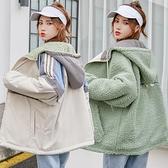 兩面穿運動工裝外套少女秋冬裝2021新款初中高中學生韓版加絨加厚 【年貨大集Sale】