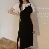 洋裝 韓系假兩件復古小黑裙連身裙 花漾小姐【預購】