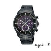 agnes b 太陽能紫三眼黑鋼錶 40mm 公司貨 V175-0CE0T BU8008P1   名人鐘錶高雄門市