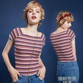 小心機針織短袖女修身彩虹條紋上衣一字肩顯瘦露肩領t恤