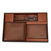 COACH 荔枝皮革對開男仕短夾ID票夾鑰匙圈禮盒組(棕色)