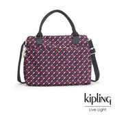 Kipling 紅藍幾何印花手提側背包-大