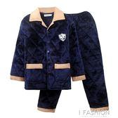 冬季男士睡衣加厚加絨中老年加肥加大碼珊瑚絨三層夾棉保暖家居服