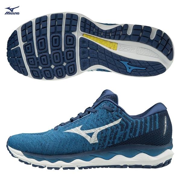 MIZUNO WAVE SKY WAVEKNIT 3 男鞋 慢跑 路跑 輕量 彈力 柔軟 耐磨 藍 白【運動世界】J1GC192501