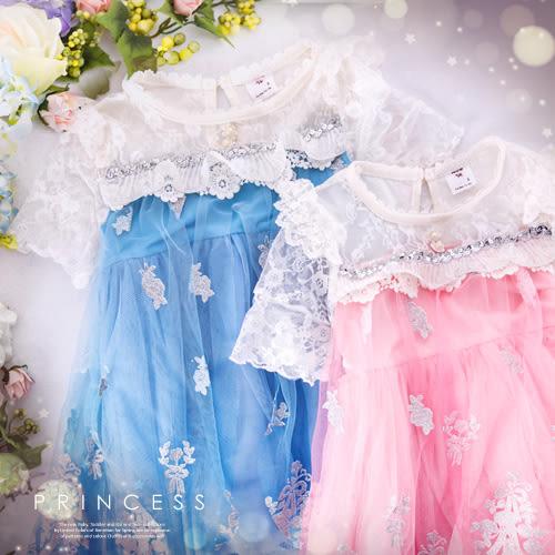 冰雪公主~珍珠花朵織網袖雪紡洋裝(230693)★水娃娃時尚童裝★