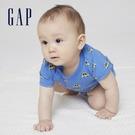 Gap嬰兒 純棉印花短袖連身衣 701042-淺藍色