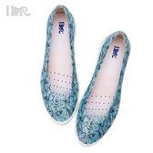 iLR空氣鞋 百搭平底娃娃鞋-水彩花卉(湖水映綠) 下雨防滑防潑水 約會鞋