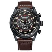 CITIZEN 光動能時尚計時三眼腕錶-咖啡X黑