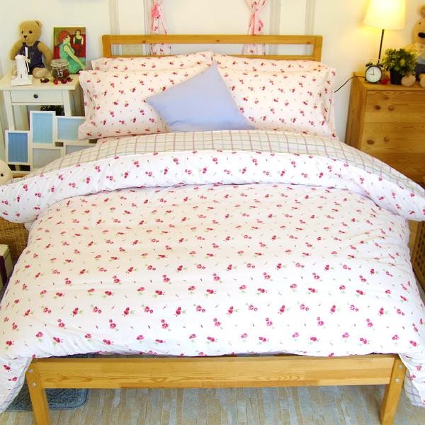 加大雙人床包被套四件組 /100%精梳棉-【粉玫瑰】大鐘印染、台灣製
