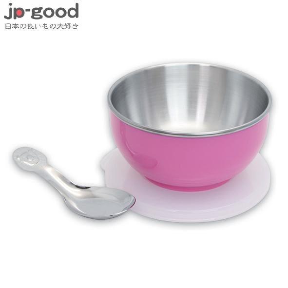 genki bebi 元氣寶寶 彩色不鏽鋼隔熱寶寶碗(附蓋+湯匙) - 粉色