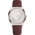 Relax Time RT58 經典學院風格腕錶-玫瑰金框x黑/42mm RT-58-16M