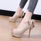 魚嘴涼鞋 12cm超高跟魚嘴鞋2021夏季性感夜店單鞋細跟淺口時尚蝴蝶結女鞋秋