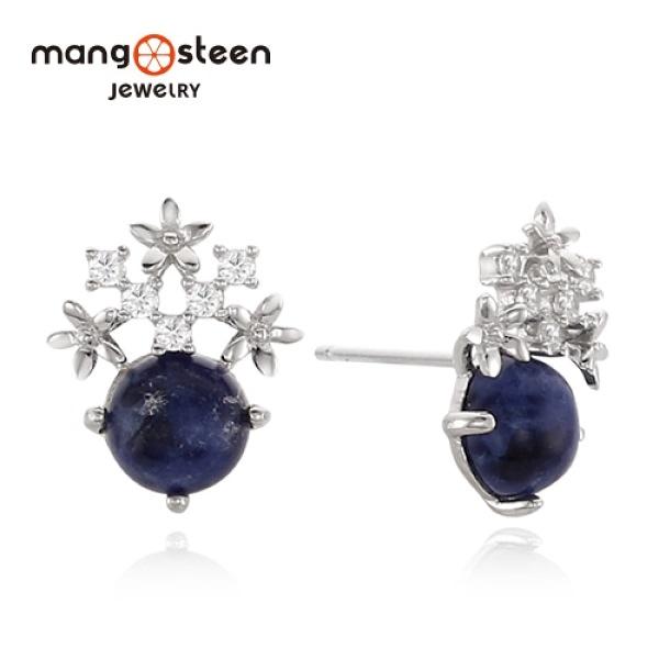 【Mango steen】Earrings韓國心心相印S925極光純銀石水鑽款耳環-莓果藍/MJ0014S-EWBL/台灣總代理公司貨