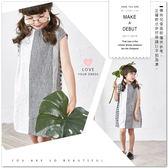 純棉 清新格紋拼接蕾絲條紋背心上衣 棉麻 背心裙 長版 哎北比童裝