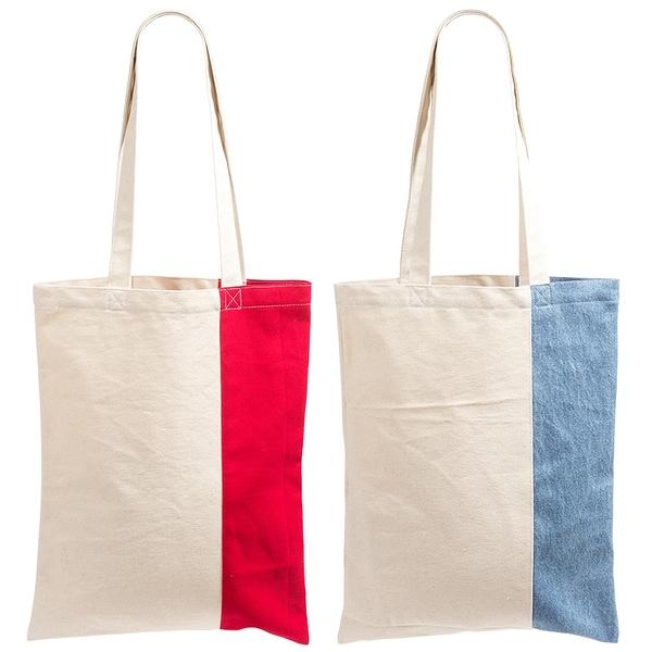 [客製化50個] 直條不對等配色帆布袋33x42cm長提帶(LOGO網版印刷) S1-01103C
