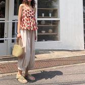 【MISS.SUGAR】短款 套裝 露肩 復古 紅色 波點 吊帶 A字 上衣 女 夏 外穿【EC】