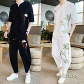 中國風夏季休閒一套裝男裝潮流韓版帥氣上衣服個性短袖T恤兩件套 「時尚彩虹屋」