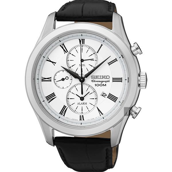 SEIKO 精工 CS 紳士羅馬計時碼錶-銀/43mm 7T62-0LJ0W(SNAF69P1)