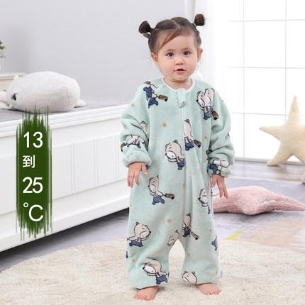 睡袋 嬰兒睡袋春秋冬加厚法蘭絨分腿居家服連體睡衣大童寶寶珊瑚防踢被 維多原創