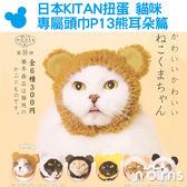 Norns【日本KITAN扭蛋 貓咪專屬頭巾P13熊耳朵篇】寵物頭套 貓用變裝 寵物用品 裝飾 熊貓 奇譚轉蛋
