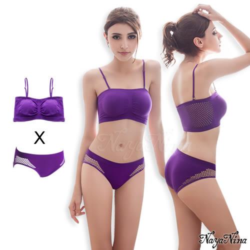 運動內衣褲組 感動!無縫透氣無鋼圈內衣內褲組L/XL(紫) SEXYBABY 性感寶貝NY15990059