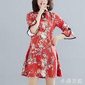 改良版新式旗袍年輕款2019夏裝新款日常復古少女花色中國風連身裙 GD585『小美日記』