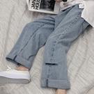 牛仔褲淺色破洞牛仔褲女夏季韓版新款割破老爹褲直筒寬鬆高腰顯瘦闊腿褲 【快速出貨】