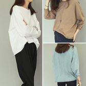 ZUCAS~韓卷邊竹節棉長袖T恤 (T-6417)均碼