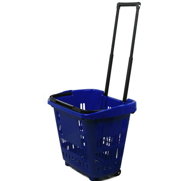 創意大號可伸縮拉桿超市購物車提手購物籃塑料買菜籃子帶滑輪  SSJJG【慶新年全館免運】