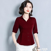 真絲襯衫-真絲襯衫女小眾設計感時尚短袖桑蠶絲上衣收腰顯瘦洋氣雪紡襯衣夏