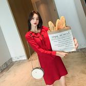 早秋款女裝潮洋氣娃娃領直筒紅色大碼針織連身裙長款毛衣裙內搭冬
