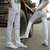 白色牛仔褲男韓版潮青少年情侶彈力小腳長褲子 免運