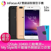 InFocus A3 雙鏡頭智慧型手機『贈My Style馬卡龍撞色側掀站立皮套+QStyle 10400 雙輸出行動電源』