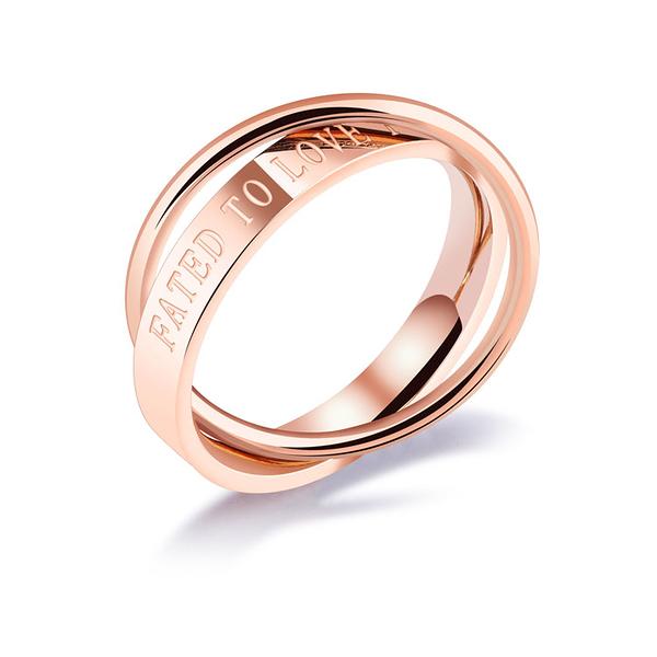 【5折超值價】 情人節禮物時尚精美精緻 FATED TO LOVE YOU 雙環造型女款鈦鋼戒指