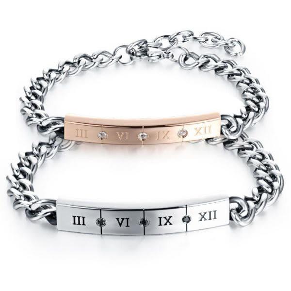 EDJ銀飾店-羅馬數字鑲黑白鋯石鈦鋼情侶手鍊(7470)