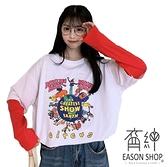 EASON SHOP(GW7621)實拍假兩件撞色拼接繽紛卡通印花長版OVERSIZE落肩寬鬆長袖素色棉T恤裙連身裙大碼