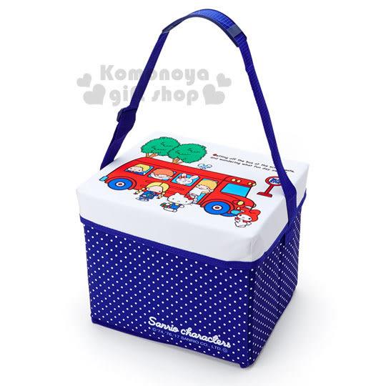 〔小禮堂〕Sanrio大集合 保冷收納提箱座椅《白藍.紅校車.樹.長方型》可折疊收納 4901610-10443