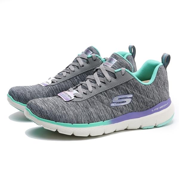 SKECHERS FLEX APPEAL 3.0 灰綠 紫綠 輕量 休閒鞋 女 (布魯克林) 149008GYMT