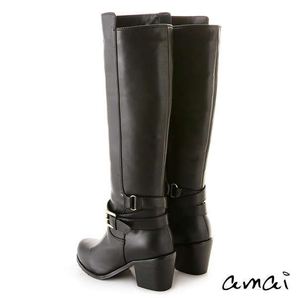 amai皮革寬帶繞踝挺版粗跟長靴 黑