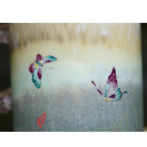 鹿港窯~陶瓷琉璃耳馬克杯系列【蝴蝶馬克杯】附精美包裝◆免運費送到家
