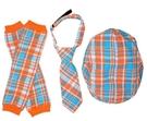 【出清特價】美國My Little Legs 格紋帽子,領帶,襪套 三件組-橘色格子