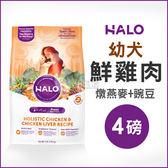 [寵樂子]《HALO嘿囉》幼犬燉食雞肉(燉燕麥+豌豆)4磅 / 狗飼料