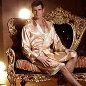 真絲情侶長袖睡衣睡裙女夏男士睡袍浴袍薄款兩件套裝絲綢性感Mandyc