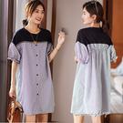 孕婦裝 MIMI別走【P521240】輕鬆知性 棉質拼接條紋襯衫裙 連身裙 孕婦裙