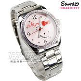 HELLO KITTY 凱蒂貓 時尚晶鑽粉童趣卡通腕錶 粉色 不銹鋼 日常防水 LK691LWPA-S