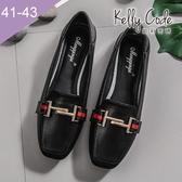 大尺碼女鞋-凱莉密碼-潮流時尚歐美風尖頭平底鞋1cm(41-43)【BP766-13】黑色