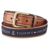 Tommy Hilfig -深藍色織帶皮革包邊皮帶