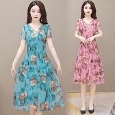 L-5XL大碼洋裝~夏季新款短袖大碼連身裙網紗碎花大擺長裙收腰氣質H489-A胖妞衣櫥