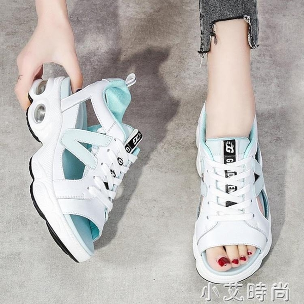 真皮鏤空魚嘴休閑運動涼鞋女夏季2021年新款軟底輕便平底老爹女鞋 小艾新品